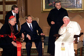 English: VATICAN CITY. A meeting with Pope Joh...