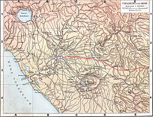 Route of Via Praenestina from Rome in a map of ancient Latium. Voieprenestine planlatium.jpg