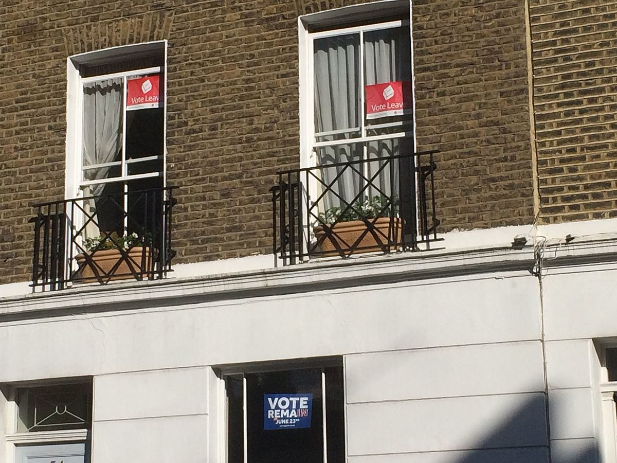 Vote Leave and Vote Remain posters in Pimlico, June 2016.jpg