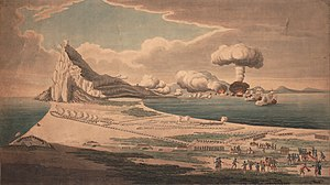 Mushroom cloud - Vue du siège de Gibraltar et explosion des batteries flottantes View of the Siege of Gibraltar and the Explosion of the Floating Batteries, artist unknown, c.1782