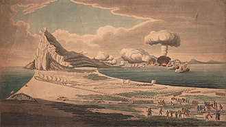 56th (West Essex) Regiment of Foot - Panorama of the Grand Assault on Gibraltar by French and Spanish warships, showing 1 ship exploding, infantry and artillery on land in right foreground, September 1782