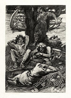 The Lotos-Eaters - c. 1901 illustration to the poem by W. E. F. Britten