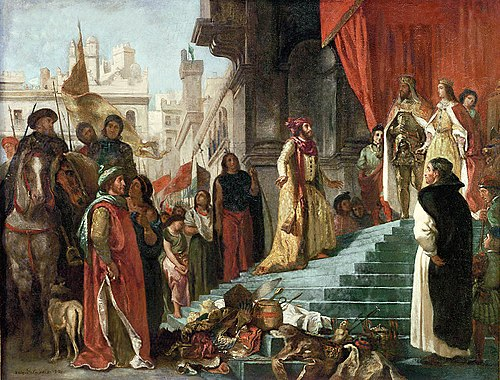 The return of Christopher Columbus; his audience before King Ferdinand and Queen Isabella, painting by Eugene Delacroix WC Delacroix,Eugene The Return of Christopher Columbus.jpg