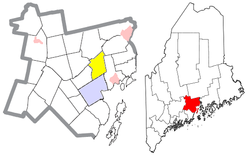 Location of Swanville (in yellow) in Waldo County and the state of Maine