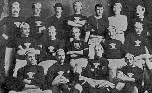 Richard Mullock - Mullock (back row in bowler hat) with the first Welsh team, 1881