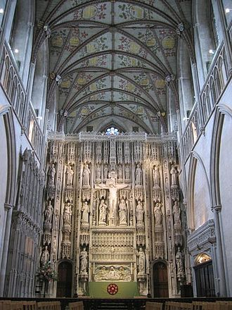 Architecture of the medieval cathedrals of England - The reredos in St. Alban's Cathedral was severely damaged in the Dissolution of the Monasteries. It was reconstructed with new statues in 1888.