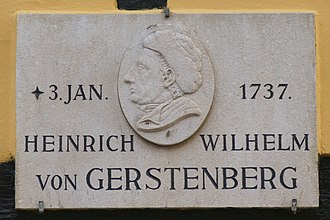 Heinrich Wilhelm von Gerstenberg - Board on birthplace in Tønder, Denmark (Photo 2015)