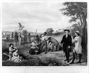 Legacy of George Washington - This 19th-century engraving is a depiction of Washington supervising his slaves at Mount Vernon.