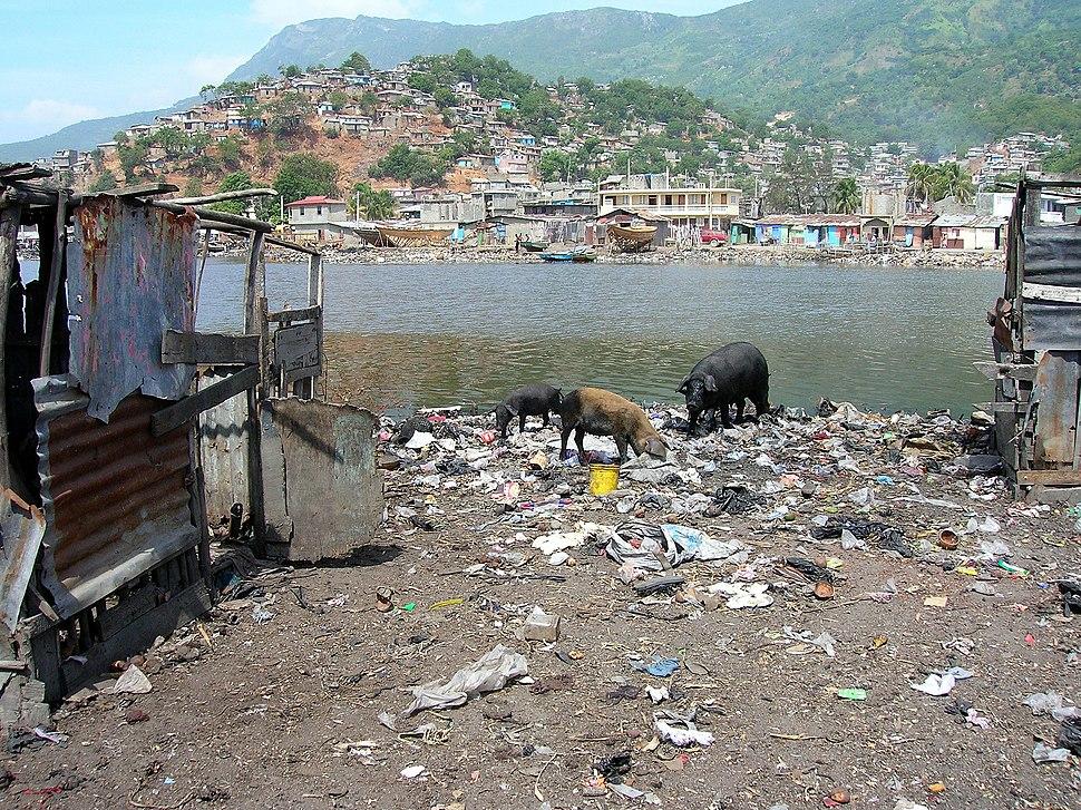 Waste dumping in a slum of Cap-Haitien