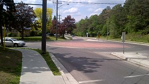 Waterloo, Ontario, mini-roundabout at Union Street East and Margaret Avenue South.jpg