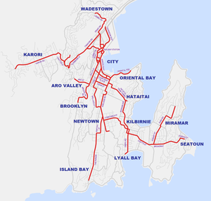 Wellington tramway system - Map of the Wellington tramway network at its greatest extent, superimposed on a map of the city as it is today.