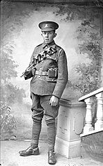 Welsh regiment private wearing bandolier and spurs