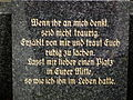 Wenn ihr an mich denkt Grabinschrift Deutschland.JPG