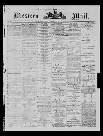 Western Mail (Wales) - Front page of the earliest surviving copy of the Western Mail; 1 May 1869