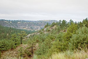 Wildcat Hills - View from one of the stone shelters at Wildcat Hills State Recreation Area.