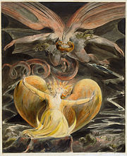 Blake's The Great Red Dragon and the Woman Clothed with Sun (1805) is one of a series of illustrations of Revelation 12.