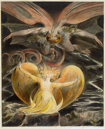 Blake's The Great Red Dragon and the Woman Clothed with Sun (1805) is one of a series of illustrations of Revelation 12. William Blake 003.jpg