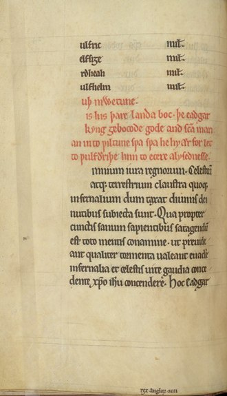 Anglo-Saxon charters - Copy of a 968 charter of King Edgar preserved in a mid-13th-century cartulary from Wilton Abbey