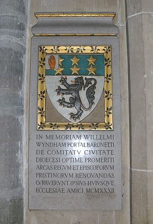 Portal baronets - Winchester Cathedral, memorial plaque for Sir William Wyndham Portal, 2nd Bt (1850–1931).
