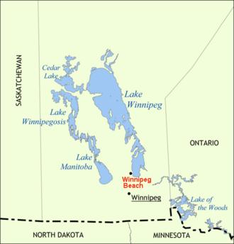 Winnipeg Beach - Location of Winnipeg Beach, Manitoba, on Lake Winnipeg