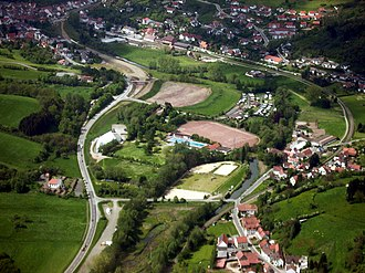 Wolfstein, Rhineland-Palatinate - Southern Wolfstein from the air, including the Sports and Recreation Centre
