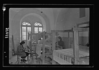 Women's Institute, Jerusalem. One of the weaving rooms, 3 looms LOC matpc.19902.jpg