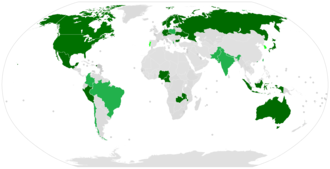 Confessional Evangelical Lutheran Conference - Dark Green - countries with a full member of the CELC Bright Green - countries with an associate member of the CELC Light Green - countries with an observer member of the CELC