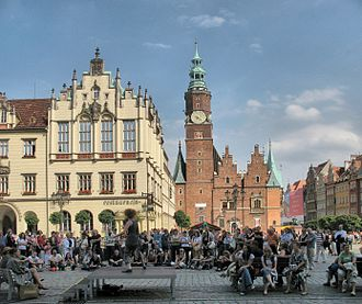 Wrocław Town Hall - Old Town Hall, west elevation. The bright building on the left is New Town Hall built in 1860-1864
