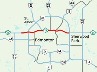 Yellowhead Trail - Image: Yellowhead Trail Map
