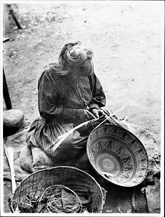 Indigenous peoples of California - Yokut woman basket maker, Tule River Reservation ca. 1900