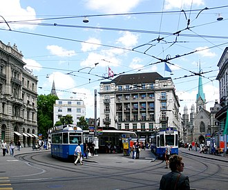 Trams in Zürich - Paradeplatz is one of the key nodes of the route network, served by 7 routes