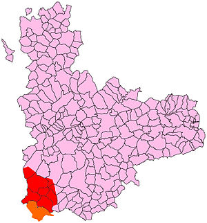 Trabancos (river) - Map showing the ZEPA SPA designated territory. The red-colored area corresponds to the province of Valladolid, and the orange corresponds to Salamanca and Ávila.