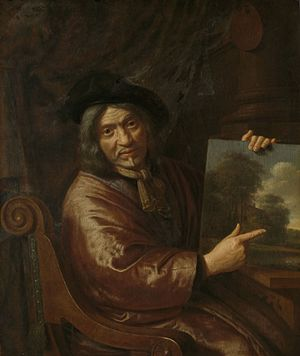 Pieter Jansz van Asch - Pieter Jansz van Asch. Self-portrait with one of his landscapes.