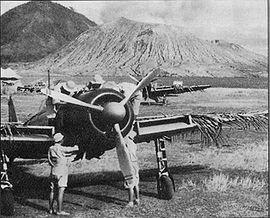 Zero A6M2 Rabaul with Hanabuki volcano