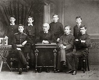 Alexander Scriabin - Zverev's students in the late 1880s. Scriabin, with military attire, is the second on the left. Rachmaninoff is the fourth from the right.