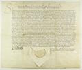 Zygmunt II August król polski transumuje i potwierdza na dokumencie pergaminowym swoje potwierdzenie prawa składu miasta Poznania.png