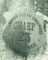 """""""CHIEF 25"""" """"CUMMINS' INDIAN CONGRESS"""" """"48 TRIBES"""" badge worm by Red Shirt, from- Red Shirt3 (cropped).png"""