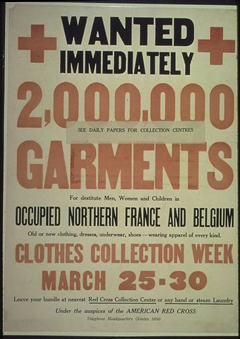 "U.S. Food Administration poster ""Wanted Immediately. 2,000,000 Garments for destitute Men, Women, and children in occupied Northern France and... - NARA - 512616.jpg"
