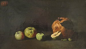 Théodule Ribot - Image: 'Still Life with Apples and a Pomegranate' by Théodule Augustin Ribot