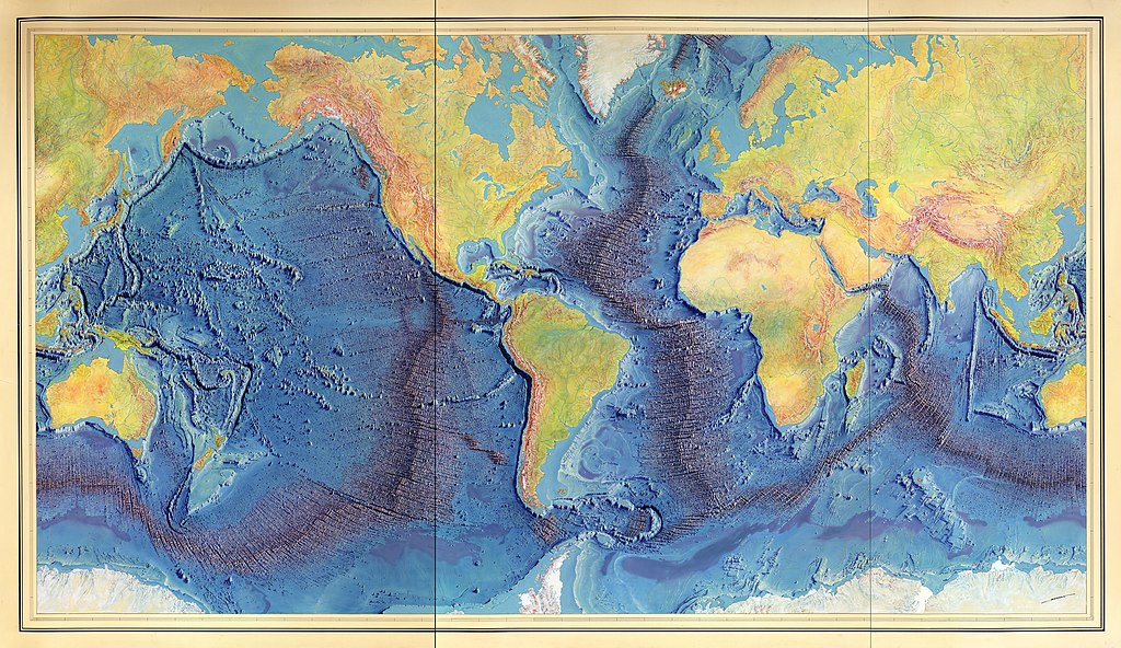 Painting of the Mid-Ocean Ridge with rift axis by Heinrich Berann based on the scientific profiles of Marie Tharp and Bruce Heezen (1977).