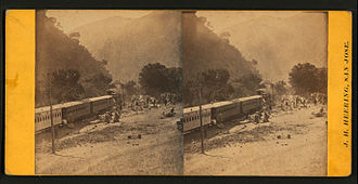 Niles Canyon Railway - (View of Rail Road and people.) Farwell, California, ca1866, from Robert N. Dennis collection of stereoscopic views