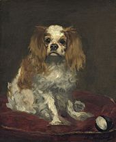 A painting of a small red and white spaniel with long ears
