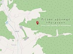 Лісове урочище «Рогачин» на мапі