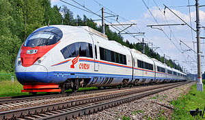 High-speed rail in Russia - Russian high speed train Sapsan on route from Moscow to Saint Petersburg