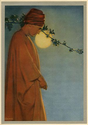 "Omar Khayyam - ""A Ruby kindles in the vine"", illustration for FitzGerald's Rubaiyat of Omar Khayyam by Adelaide Hanscom Leeson (c. 1905)."