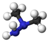 Ball and stick model of unsymmetrical dimethylhydrazine