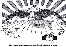 "1898 political cartoon: ""Ten Thousand Miles From Tip to Tip"" meaning the extension of U.S. domination (symbolized by a bald eagle) from Puerto Rico to the ..."
