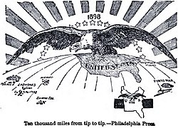 """Ten Thousand Miles From Tip to Tip"", an 1898 political cartoon depicting the extension of the United States dominion"