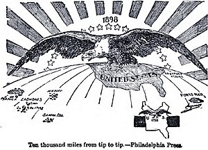 "Pax Americana - 1898 political cartoon: ""Ten Thousand Miles From Tip to Tip"" meaning the extension of U.S. domination (symbolized by a bald eagle) from Puerto Rico to the Philippines."