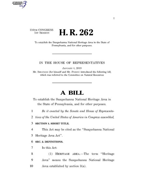 File:116th United States Congress H. R. 0000262 (1st session) - Susquehanna National Heritage Area Act.pdf